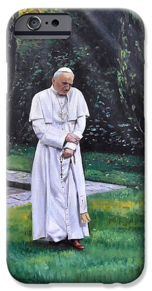 Sun Rays Paintings iPhone Cases - Pope John Paul II  iPhone Case by Mike Roberts