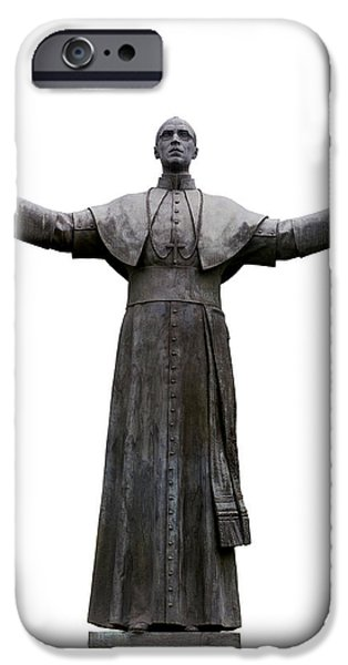 Cut-outs iPhone Cases - Pope Pius XII iPhone Case by Fabrizio Troiani