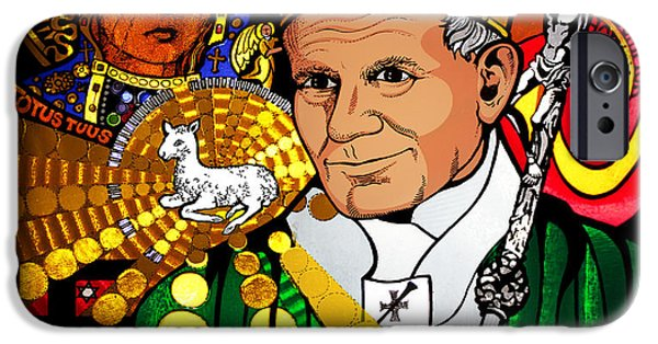Pope Mixed Media iPhone Cases - Pope Saint John Paul II iPhone Case by Desmond kyne