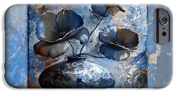 Artificial Flowers iPhone Cases - Poppies 02 - Style blue peach iPhone Case by Emerico Imre Toth
