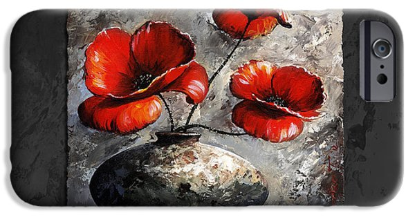 Artificial Flowers iPhone Cases - Poppies 02 - Style Black White and Red iPhone Case by Emerico Imre Toth