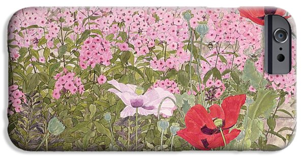 Bee iPhone Cases - Poppies And Phlox iPhone Case by Linda Benton
