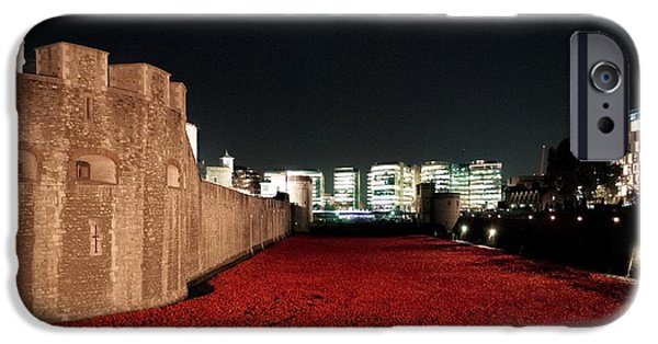 Ww1 iPhone Cases - Poppies at the Tower of London - At Night  iPhone Case by Mary Poulton