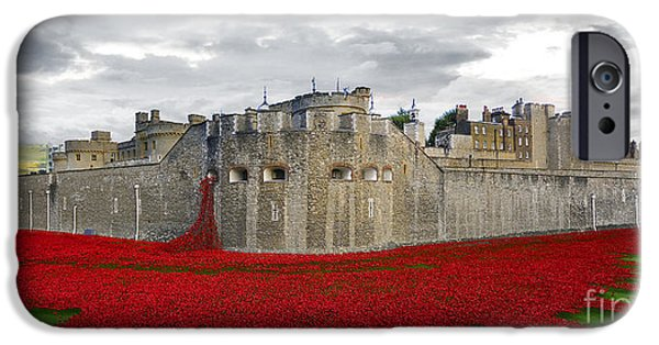 Cummins iPhone Cases - Poppies At The Tower Of London iPhone Case by J Biggadike