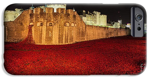Recently Sold -  - World War One iPhone Cases - Poppies at the Tower of London - Night Panorama iPhone Case by Mary Poulton