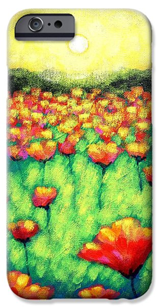 Varnish iPhone Cases - Poppies At Twilight    cropped version iPhone Case by John  Nolan