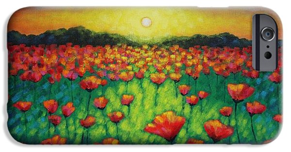 Meadow iPhone Cases - Poppies At Twilight iPhone Case by John  Nolan