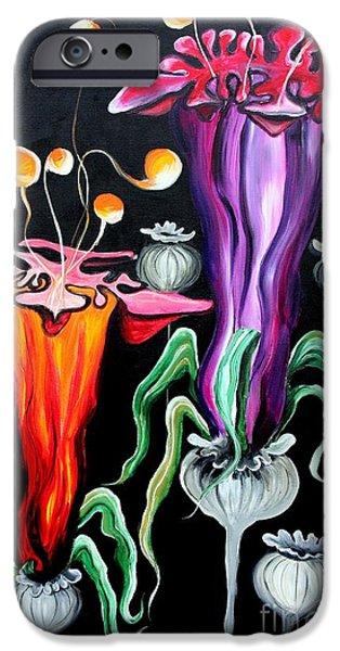 Strange iPhone Cases - Poppies Fantasy iPhone Case by Jolanta Anna Karolska