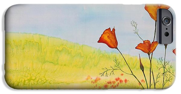 Wax Tapestries - Textiles iPhone Cases - Poppies in a field iPhone Case by Carolyn Doe