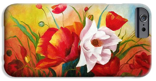 A Sunny Morning iPhone Cases - Poppies In My Garden iPhone Case by Georgiana Romanovna