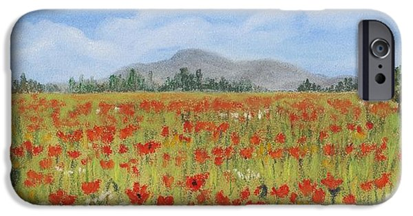 Mountains iPhone Cases - Poppies in Provence  iPhone Case by Anastasiya Malakhova
