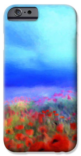 Poppies in the mist iPhone Case by Valerie Anne Kelly
