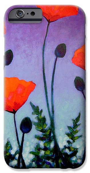 Varnish iPhone Cases - Poppies In The Sky II iPhone Case by John  Nolan