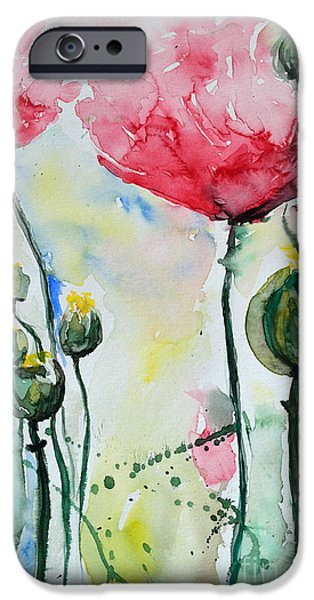 Gruenwald iPhone Cases - Poppies iPhone Case by Ismeta Gruenwald