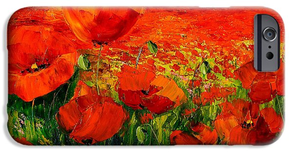 Landscapes Digital Art iPhone Cases - Poppies iPhone Case by Jean-Marc Janiaczyk