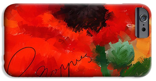 In Bloom Paintings iPhone Cases - Poppies iPhone Case by Lourry Legarde