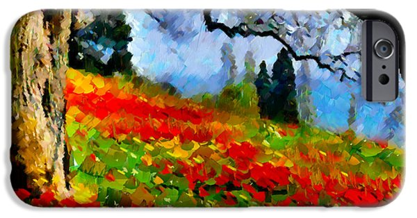 Tree Art Print iPhone Cases - Poppies On A Hill iPhone Case by Georgiana Romanovna