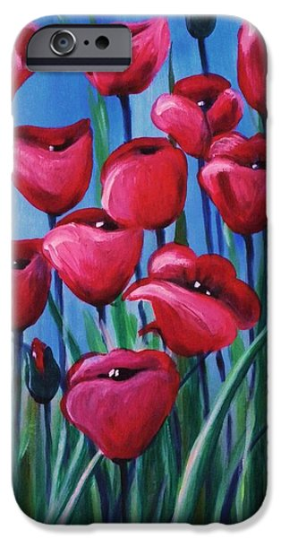 Red Abstract iPhone Cases - Poppies iPhone Case by Teresa  Pascos