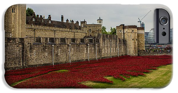 Citylife iPhone Cases - Poppies Tower Of London iPhone Case by Martin Newman