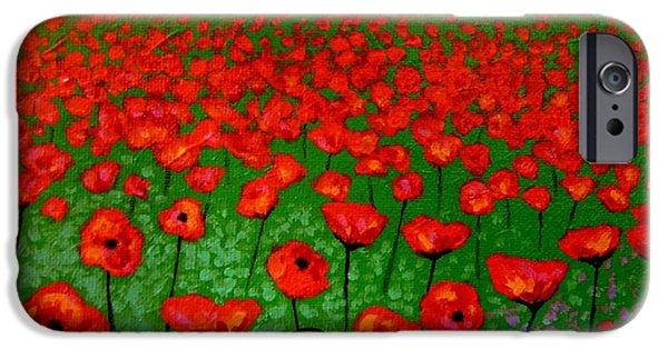 Landscape Acrylic Prints iPhone Cases - Poppy Carpet  iPhone Case by John  Nolan