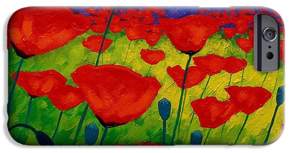 Texture Paintings iPhone Cases - Poppy Corner II iPhone Case by John  Nolan