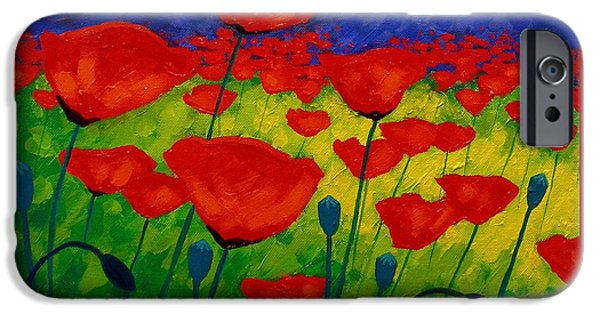Florals Paintings iPhone Cases - Poppy Corner II iPhone Case by John  Nolan