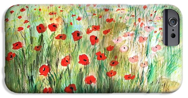 Country Jewelry iPhone Cases - Poppy field iPhone Case by Asuncion Purnell