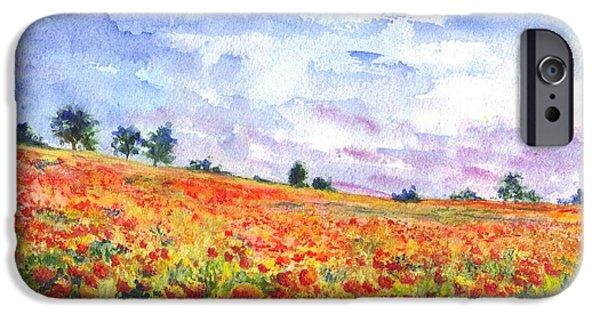 Field. Cloud Drawings iPhone Cases - Poppy Field iPhone Case by Carol Wisniewski