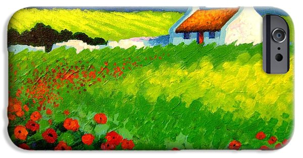 Decorative Art iPhone Cases - Poppy Field - Ireland iPhone Case by John  Nolan
