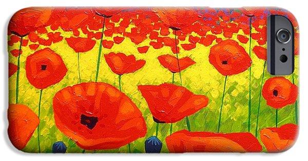 Tree Art Print iPhone Cases - Poppy Field V iPhone Case by John  Nolan