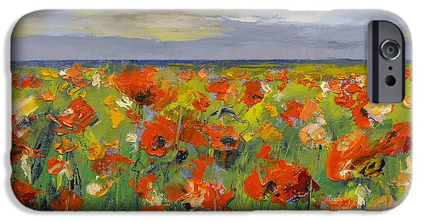 Storm Paintings iPhone Cases - Poppy Field with Storm Clouds iPhone Case by Michael Creese