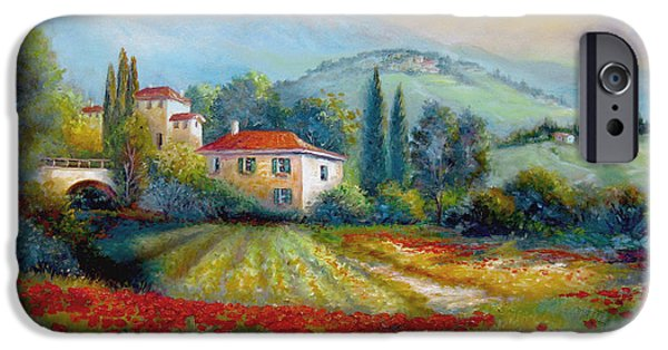 Italian Wine Paintings iPhone Cases - Poppy fields of Italy iPhone Case by Gina Femrite