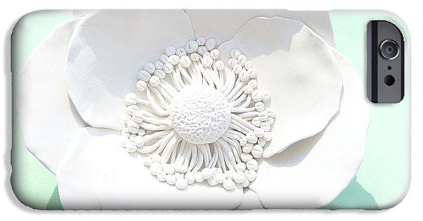 Home Sculptures iPhone Cases - Poppy Flower Wall Sculpture - White iPhone Case by Lenka Kasprisin