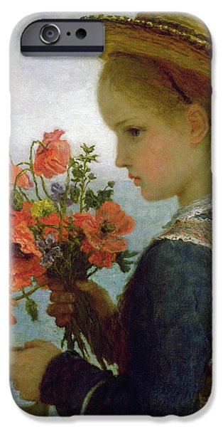 Innocence iPhone Cases - Poppy Girl iPhone Case by Karl Wilhelm Friedrich Bauerle