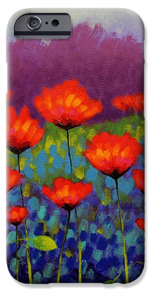Pines iPhone Cases - Poppy Meadow   cropped iPhone Case by John  Nolan