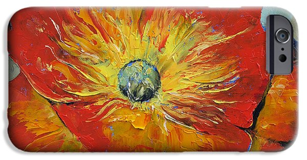 Michael Paintings iPhone Cases - Poppy iPhone Case by Michael Creese