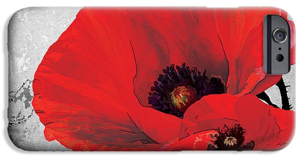 Botanical iPhone Cases - Poppy Red and Black A iPhone Case by Grace Pullen