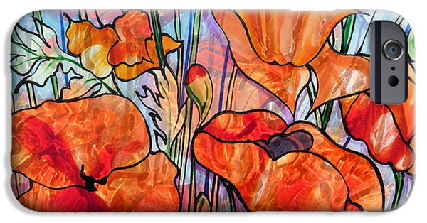 Florals Glass Art iPhone Cases - Poppy reflections iPhone Case by Sharon Cox
