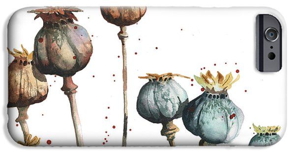 Dried iPhone Cases - Poppy Seeds iPhone Case by Alison Fennell