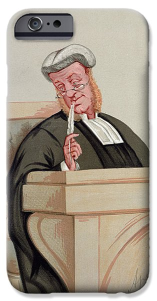 Caricature Portraits iPhone Cases - Popular Judgement, From Vanity Fair, 1st January 1876 Colour Litho iPhone Case by Carlo Pellegrini