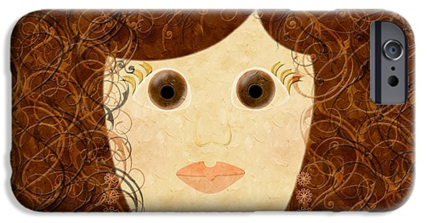 Porcelain Doll iPhone Cases - Porcelain Doll Painterly iPhone Case by Andee Design