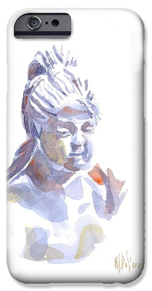Statue Portrait Paintings iPhone Cases - Porcelain Maiden in Watercolor iPhone Case by Kip DeVore