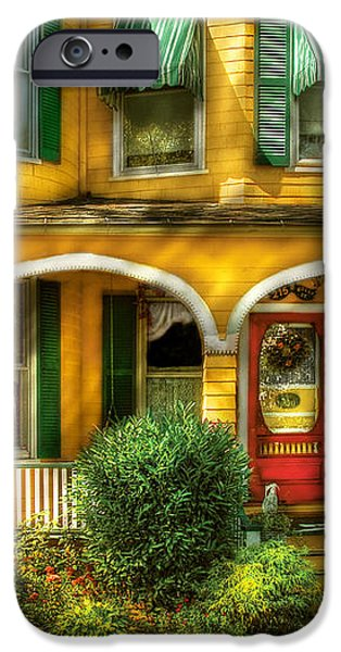 Porch - Cranford NJ - A Yellow Classic  iPhone Case by Mike Savad