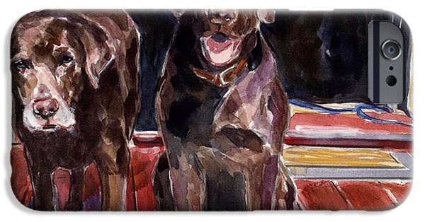 Chocolate Labrador Retriever Paintings iPhone Cases - Porch Light iPhone Case by Molly Poole