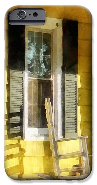Porch - Long Afternoon Shadow of Rocking Chair iPhone Case by Susan Savad