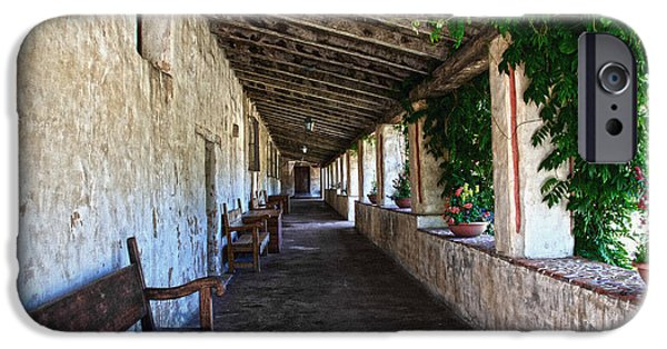 Decorative Benches iPhone Cases - Porch on Carmel Mission iPhone Case by RicardMN Photography