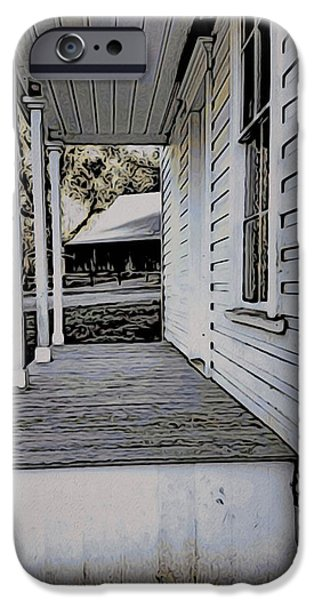 Pioneer Homes iPhone Cases - Porch - Plunkett House iPhone Case by Bonnie Bruno