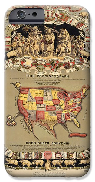 Pork Map of the United States from 1876 iPhone Case by Blue Monocle