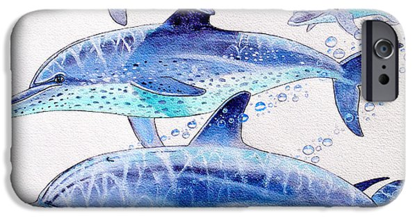 Ocean Mammals iPhone Cases - Porpoise play iPhone Case by Carey Chen