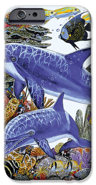 Atlantis iPhone Cases - Porpoise Reef iPhone Case by Carey Chen